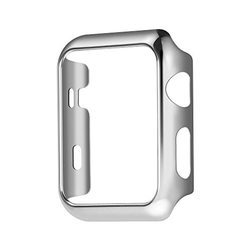 Apple Watch Series 1 Case Plating Shock-Proof and Shatter-Resistant Apple Watch Protector iWatch Case for Apple Watch 42mm/38mm (2015) (42mm, Silver)