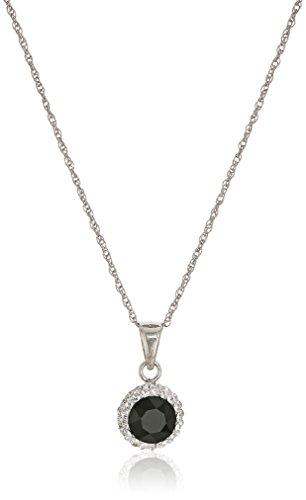 Sterling Silver Swarovski Crystal Halo Pendant Necklace, Black, (Sterling Silver Jet Stone)