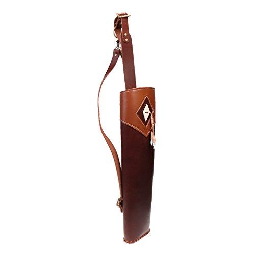 MagiDeal Für Bogensport aus Rindsleder Bogenschießen Traditioneller Rückenköcher mit Verstellbarem Schultergurt Pfeile Halter Köder