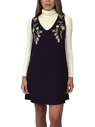 Dress Black Embroidered Shift (Daisy Del Sol Women's Fall A-Line V-Neck Sheath Floral Embroidered Pocket Casual Jumper Holiday Brunch Shift Dress (Black, Large))