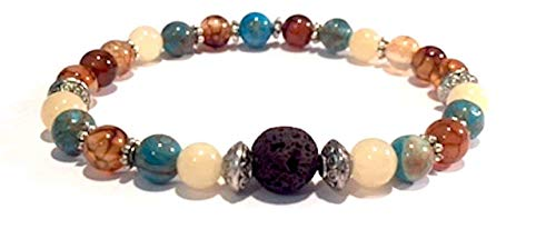 (Handmade Lava Rock (Basalt), Dragon Vein Agate, Natural Crazy Lace Agate and Yellow Jade Healing Bracelet 7 Inches)
