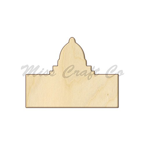 Capitol Building Wood Shape Cutout, Wood Craft Shape, Unfinished Wood, DIY Project. All Sizes Available, Small to Big. Made in the USA. 11 X 8.3 INCHES