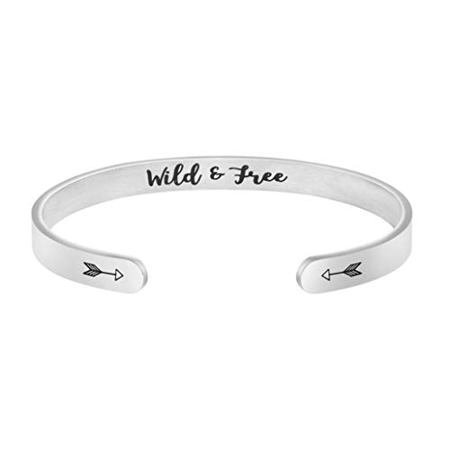 Joycuff Wild and Free Bracelet Inspirational Gifts for Boyfriend Father Husband Son Gifts for Him Father Day (Best Friendship Day Gift For Husband)