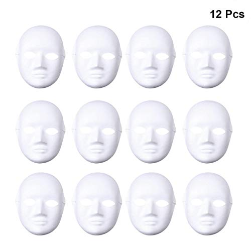 Diy Kids Ghost Costume (Tinksky 12pcs Female Full Face Halloween Costumes DIY Blank Painting Mask Halloween Hip-Hop Dance Ghost Cosplay Fancy Dress Masquerade Party)