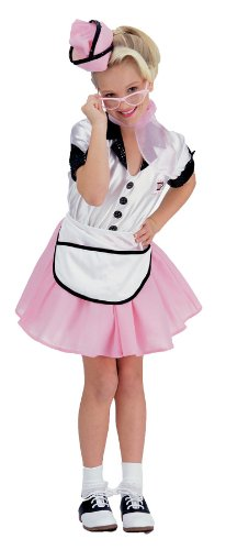 Girl's Soda Pop Theme Retro Party Fancy Dress Child Halloween Costume, Child S (4-6) White/Pink