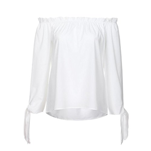 Bringbring Dcontract Tunique Top Manches Shirt Blanc Blouse Cou Bateau Femmes Longues Froide paule t Raq7Yw