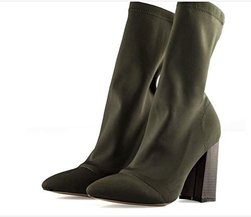 2019 Army Green Stretch Knit Heels Women Square Heel Short Booties Pointed Toe 8.5CM High Heels Shoes,Green,4]()