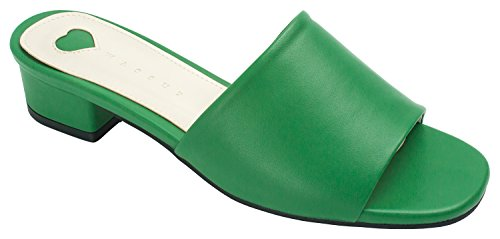 Annakastle Donna Sandalo Tacco Mulo Sandalo Colorato Ecopelle - Verde
