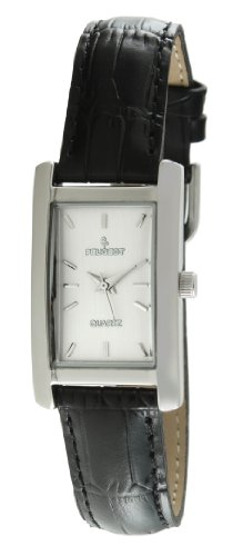 Peugeot Women's Rectangle Silver-Tone Black Leather Strap Dress Watch 3008SBK