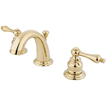 Kingston Brass KB912AL Victorian Mini Widespread Lavatory Faucet with Brass Pop-Up, Polished Brass