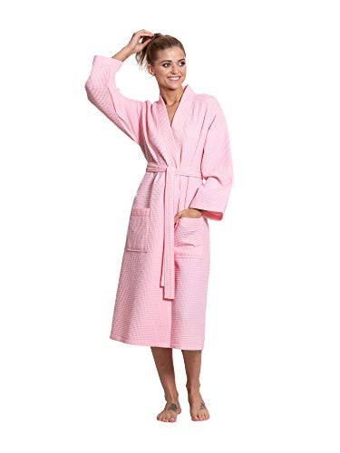 Turkuoise Linen Premium Cotton Blend Lightweight Long Waffle Kimono Bath and Spa Robe