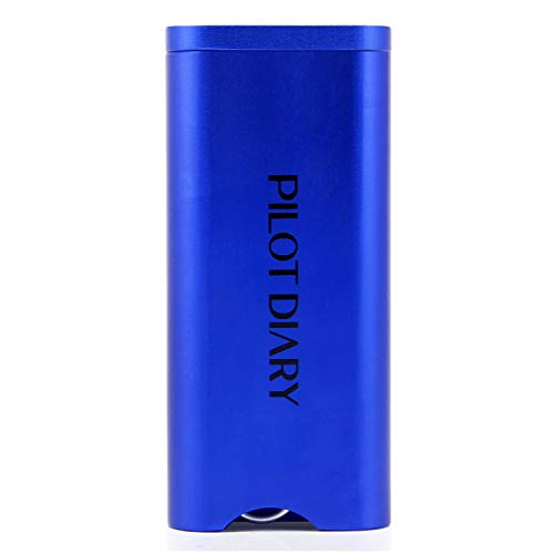 Pilot Diary Premium Aluminum Stash Box with Magnetic Rotating Lid Metal Rod Inside (Bat Included), Sapphire Blue