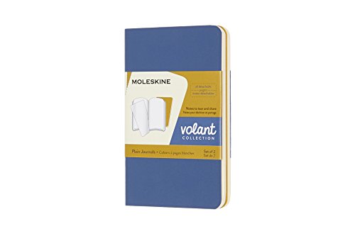 Moleskine Volant Journal, Soft Cover, XS (2.5 x 4) Plain/Blank, Forget-Me-Not Blue/Amber Yellow (Set of 2)