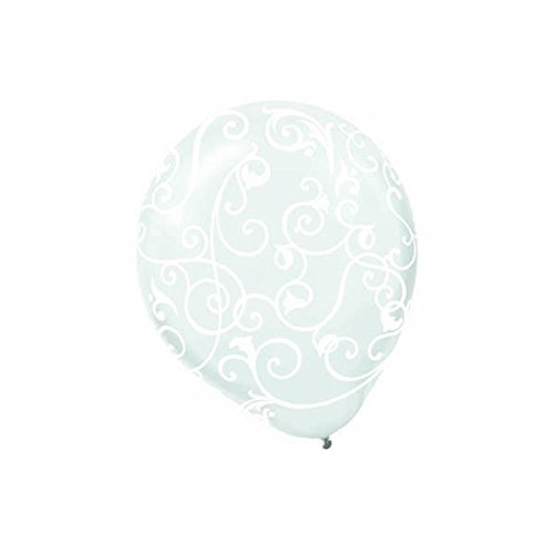 Amscan Scroll On Clear Printed Latex Balloons (100 Count), 12'', White by Amscan
