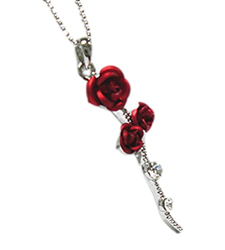 Vintage Silver Overlay (JB Vintage Lovely Red Rose Pendant Necklace in Silver Toned Overlay)