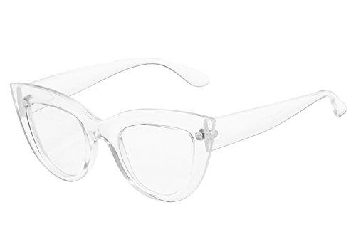 UV Protection Cat Eye Sunglasses,Mirrored Flat Lens Women Fashion Glasses (clear frame clear - Eye Frame Cat Glasses