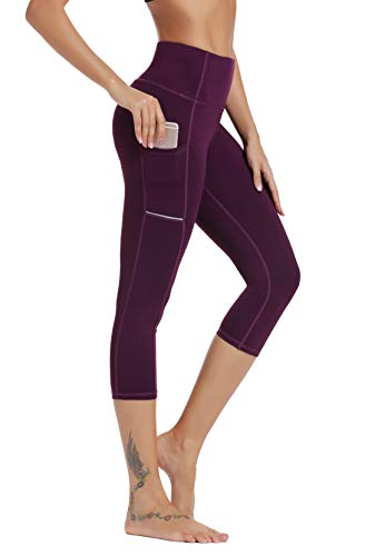 Olacia Womens High Waisted with Pockets Yoga Pants Workout Leggings Athletic Capris Tummy Control Running Pants,Dark Purple,Medium