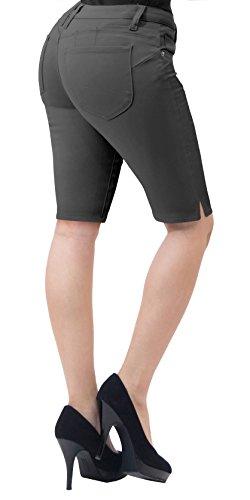 HyBrid & Company Super Comfy Stretch Bermuda Shorts B43308 Gunmetal 1