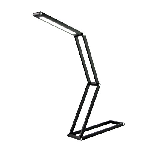 Desk Light, Eye-Care Reading Light Lamp Dimmable Desk Lamp Portable Folding Table Light Adjustable Aluminum Alloy Bed Lamp with Wall Mount for Office/Bedroom/Camping/Kids/Gifts (Black) by MORECOO