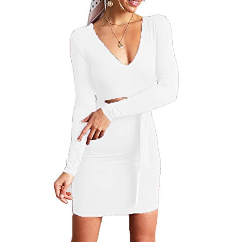 VANCOL Sexy Bodycon V Neck Long Sleeve Waist Cut Out Tie Front Short Party Club Dress (L, White)
