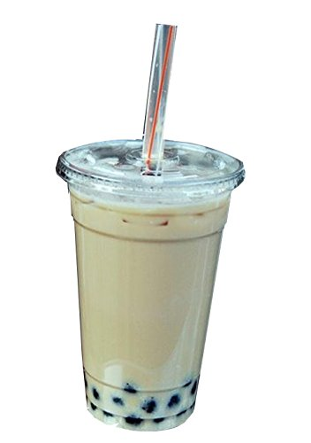 Green Direct Plastic Ultra Clear Cups With Flat Lids for Iced Coffee Bubble Boba Tea Smoothie (1000, 16 Ounce)