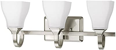 DELTA Olmsted 3-Light 8.875-in Brushed nickel Square Vanity Light