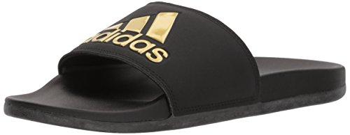 adidas Performance Women's Adilette Comfort Sport Sandal, Core Black, Gold Met, Core Black, 10 M US