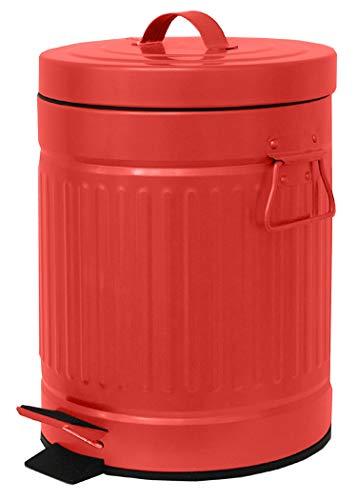 Elaine Karen Deluxe Galvanized Steel Step Foot Pedal Retro Garbage Trash Can - 5 Liter - RED