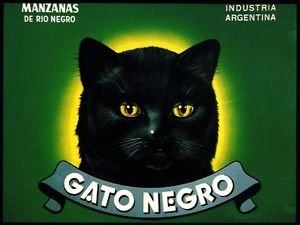 MAGNET Argentina Gato Negro Black Cat Halloween Apple Fruit Crate Magnet Art -