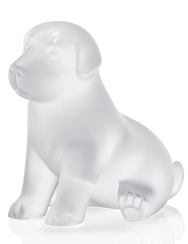 Lalique Figure Sweety Michievious Puppy - 6 7/10 in