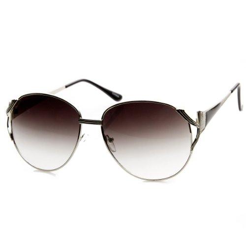 Womens Oversized Metal Color Two-Tone Fashion Sunglasses (Silver-Black ()