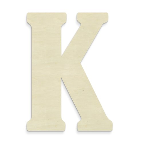 UNFINISHEDWOODCO Unfinished Wood Letter, 15-Inch, Monogrammed K, Large