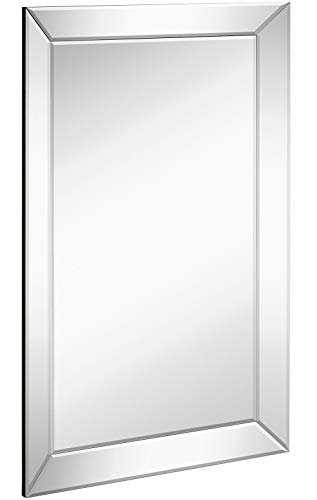 (Hamilton Hills Large Framed Wall Mirror with Angled Beveled Mirror Frame (20in x 30in)(Renewed))