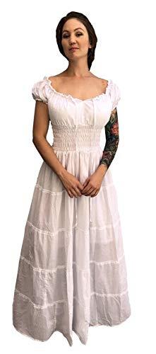 Faire Lady Designs Cotton Renaissance Wench Costume Peasant Dress Boho Hippie Sundress White Plus Size ()
