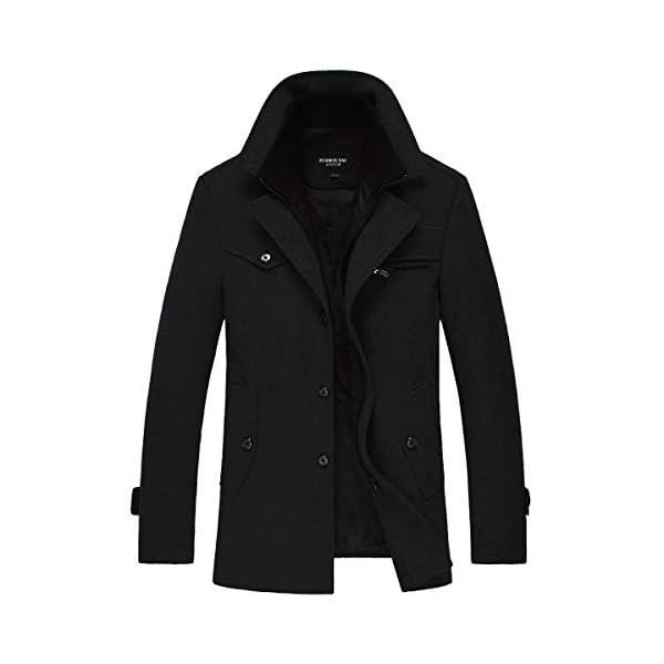Manteau Homme Hiver Chaud Long Veste en Laine Epais Parka Trench Coat Caban