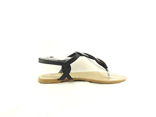 Sandalias Bamboo Mujer Armin-01 Flat Con Correa Trasera Negra