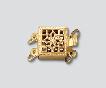 WireJewelry Gold Filled Clasp Filigree Square 2 Strand 8.5mm - Pack of 1
