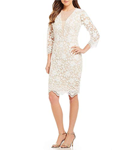 Cachet - Quarter Sleeve Sequined Lace Scallop-Hemmed Dress 59395 White Nude