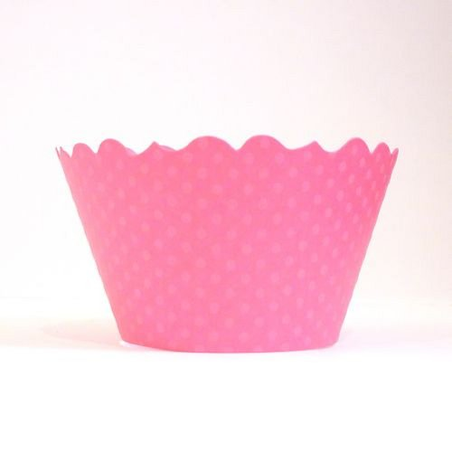Ballet Pink Swiss Dot Cupcake Wrappers - pack of 24 (Cake Swiss Dot)