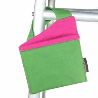 MINI Walker Bag for Cell Phone | 4.5''x5'' Senior Walker Accessory for Cell Phone | Green with Pink Trim by Jeanne&Anne