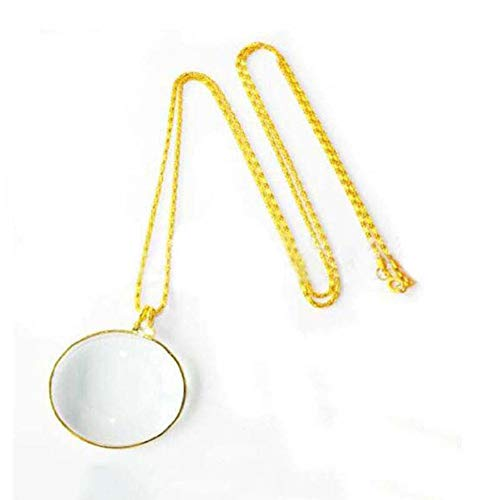 5 X Magnifying Glass Pendant 44mm Glass Lens Dia. and Alloy Necklace,Gold