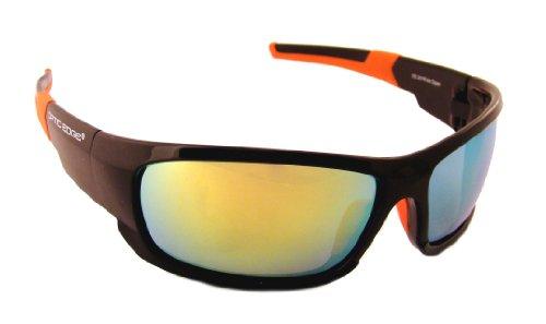 Optic Edge Framed Wide Open Sunglasses, Black, Blue Mirror - Sunglasses Optic Edge