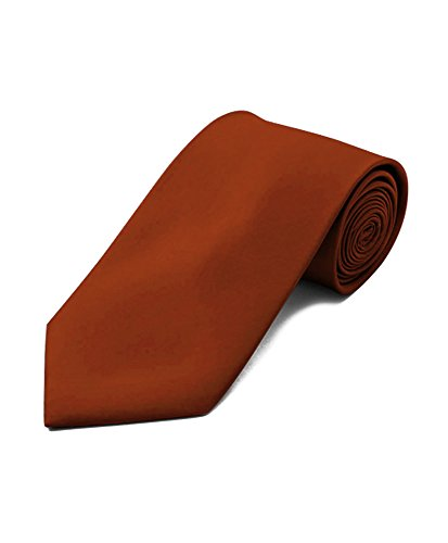 New Polyester Men's Neckties Solid Neck Tie 38 Colors (Copper) - Lorenzo Polyester Tie