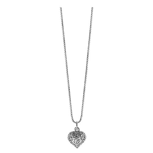 Boma Jewelry Sterling Silver Filigree Puffy Heart Necklace, 18 inches
