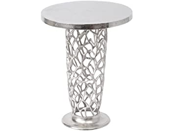Artisanti Romano Coral Metal Pedestal Side Table