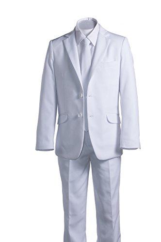 Boys Slim Fit Communion Suit White with Tie & Suspenders (4 Boys) - Holy Communion Suits