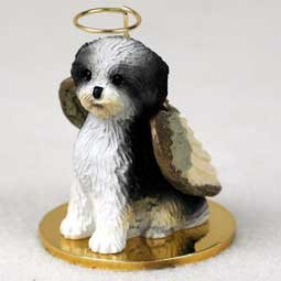 Shih Tzu Puppy Cut Angel Dog Ornament - Black & White