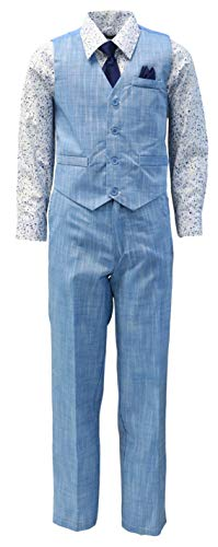 Vittorino Boy's Linen Look 4 Piece Suit Set with Vest Pants Shirt and Tie, Blue - Navy, 10]()