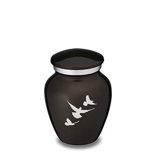 GetUrns Keepsake Mini Embrace Doves Cremation Urn for Ashes (Black)