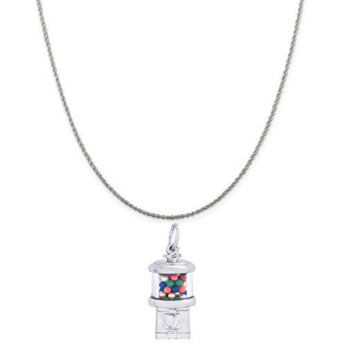 Rembrandt Charms Sterling Silver Gumball Machine Charm on a Sterling Silver Rope Chain Necklace, 16